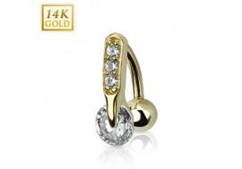 Piercing nombril inversé barre de cristaux et pierre ronde