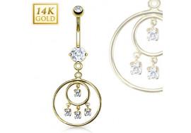 Piercing nombril chandelier double loop