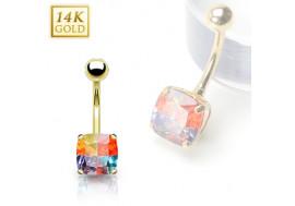 Piercing nombril pierre carrée multicolor