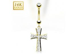 Piercing nombril croix pavée de cristaux