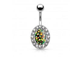 Piercing nombril ovale opale verte