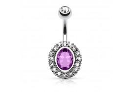 Piercing nombril acier et cristal de zirconium violet