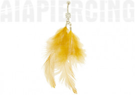 DESTOCKAGE Piercing nombril plumes orange