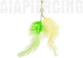 DESTOCKAGE Piercing nombril plumes verte et jaune