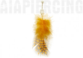 DESTOCKAGE Piercing nombril plumes pois oranges