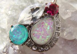 Piercing nombril double opale et cristaux
