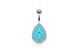 Piercing nombril vintage goutte de perles turquoises