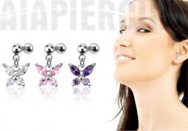 piercing cartilage ou tragus pendentif papillon