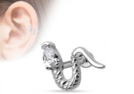 Piercing cartilage, hélix serpent strass