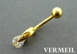 Piercing nombril vermeil et pierre