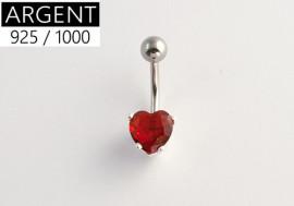 Piercing nombril argent massif 925 coeur rouge