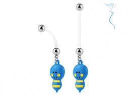 Piercing nombril femme enceinte abeille bleue
