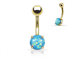 Piercing nombril opale brillante bleue