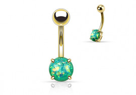 Piercing nombril opale brillante verte