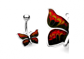 Piercing nombril papillon rouge et noir