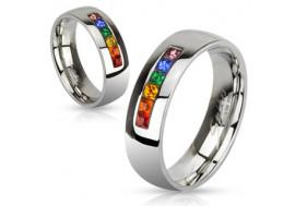 Bague en acier pierres multicolores