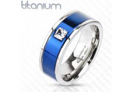 Bague en titane bande bleue et zirconium