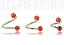 Piercing spirale Billes rayée 3mm noires et rouges
