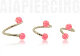 Piercing spirale Billes acrylique damier 3mm rose foncées