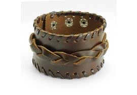 Bracelet cuir marron tissé