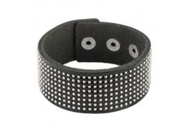 Bracelet large cuir noir et petits clous