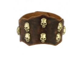 Bracelet en cuir marron têtes de morts