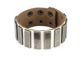 Bracelet en cuir blanc avec plaques rectangulaires