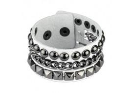 Bracelet en cuir blanc avec pyramides et dômes