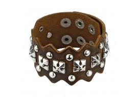 Bracelet en cuir marron croix en pyramides
