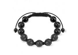 Bracelet Shamballa cristaux noirs