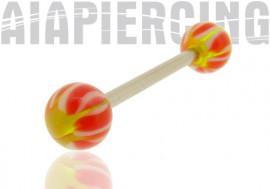 Piercing langue ou téton acrylique vert et rose