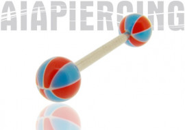 Piercing langue ou téton bleu et rouge