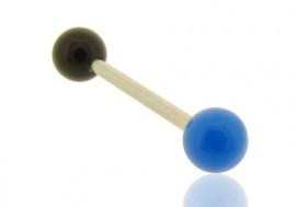 Piercing barbell billes bicolores bleu et noir