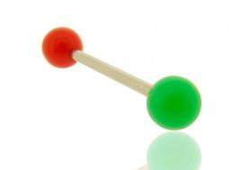 Piercing barre droite bicolore rouge et vert foncé