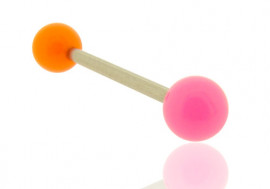 Piercing barbell bicolore orange et rose