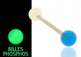 Piercing langue phospho bleu et blanc