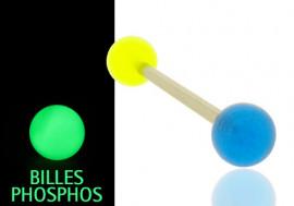 Piercing langue ou téton phospho bleu et jaune