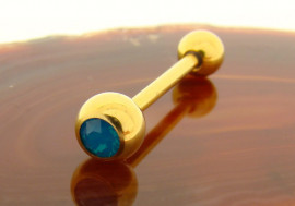 Piercing langue plaqué or opalite bleue