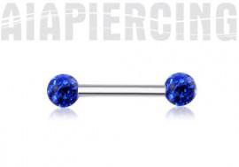 Piercing téton swarovki bleu