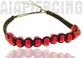 Bracelet noir perles roses fluo