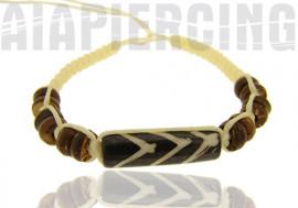 Bracelet blanc perles marrons