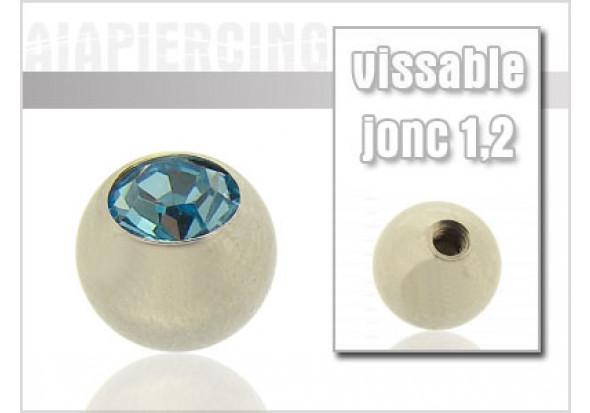 Accessoire piercing Bille cristal turquoise 1.2mm