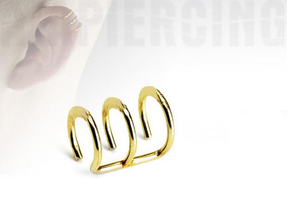 faux anneaux d'oreilles - triple plaqué or