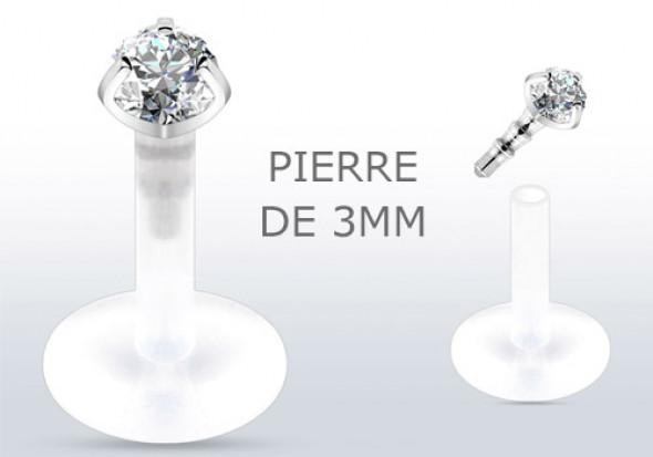 Piercing labret ou tragus style diamant blanc 3mm
