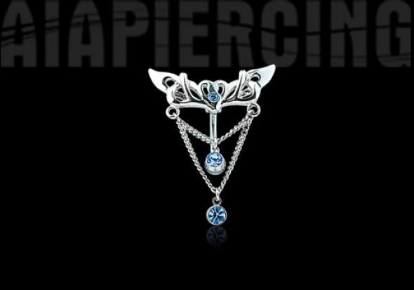 Piercing nombril inversé pendentif pierres bleues