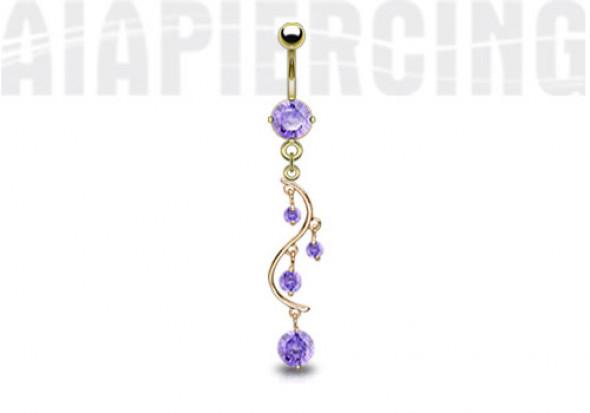 Piercing nombril plaqué or cascade pierres violettes