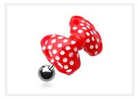 bijoux d'oreille noeud rouge à pois blancs