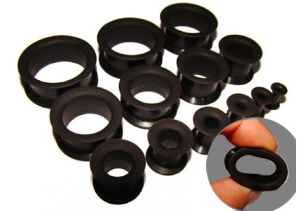 Tunnel souple silicone noir - de 3.5mm à 26mm