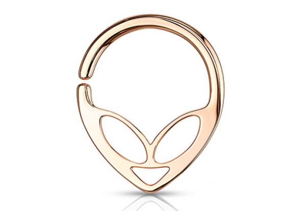 Piercing anneau alien plaqué or rose