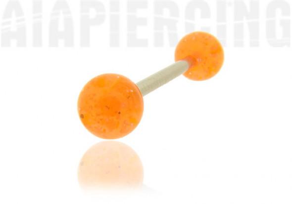 Piercing langue orange pailleté
